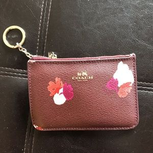 Coach Burgundy Floral Pattern Coin & Card Holder